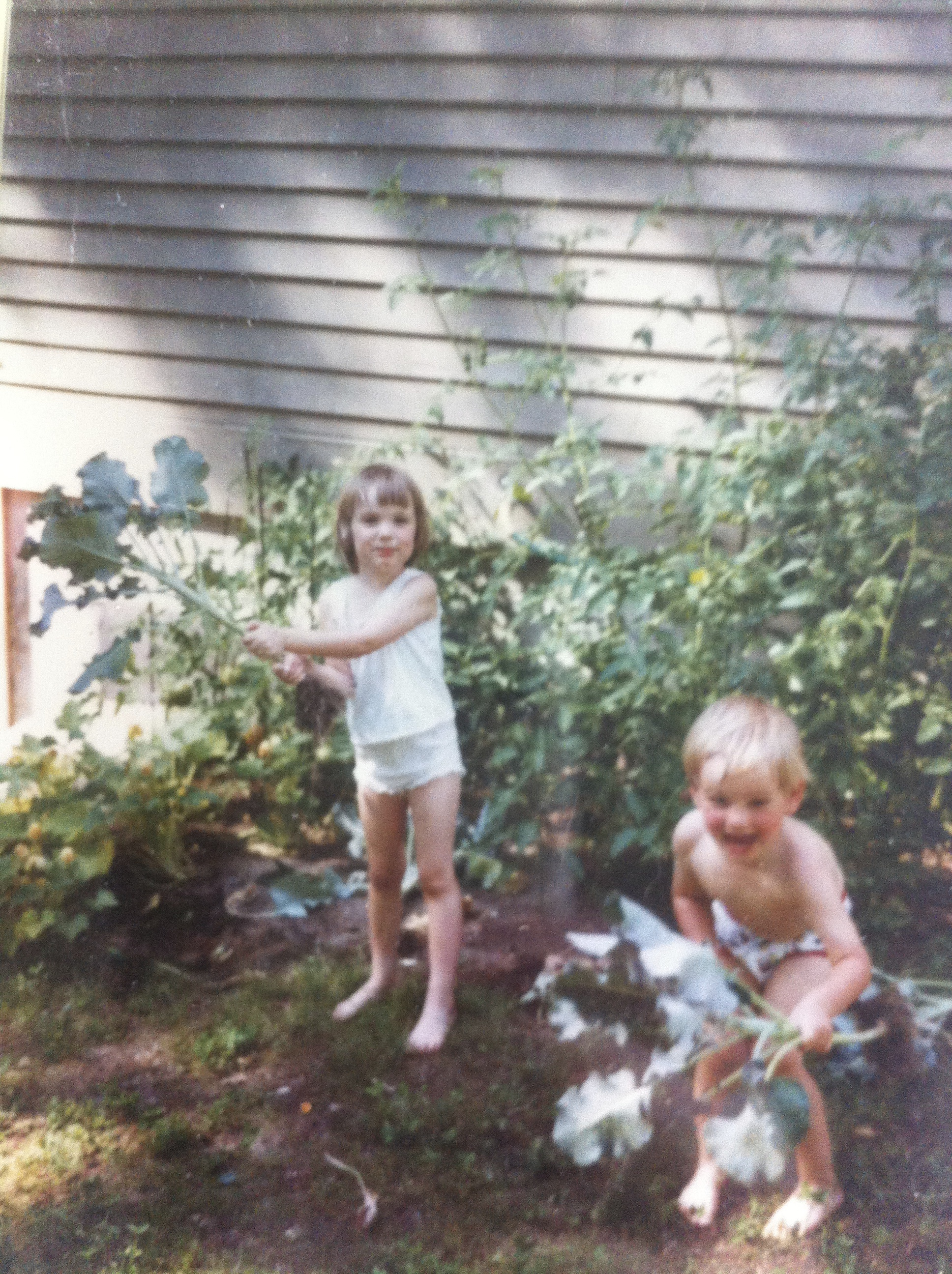 "My brother and I ""gardening"" circa 1989"