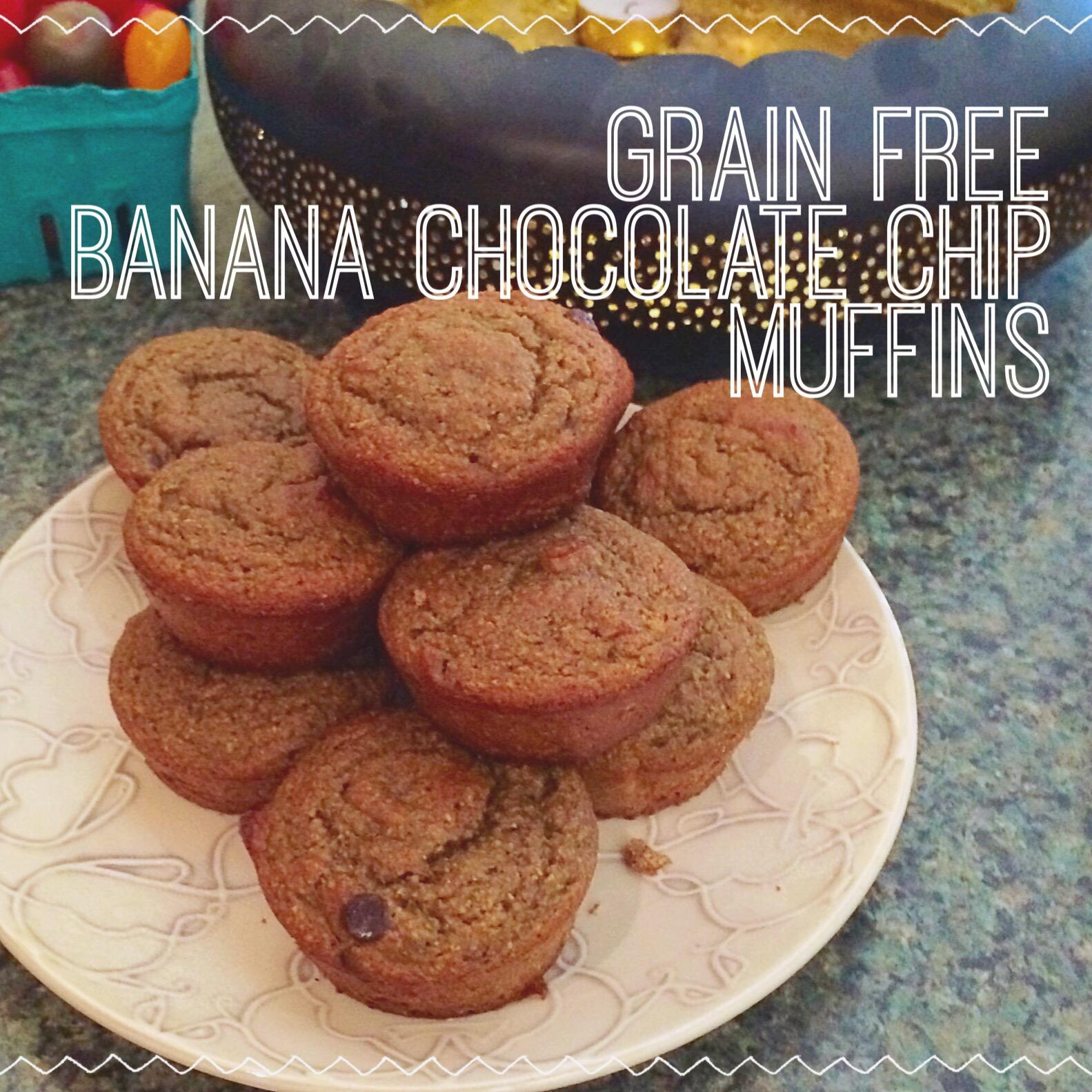 grain free banana chocolate chip muffins