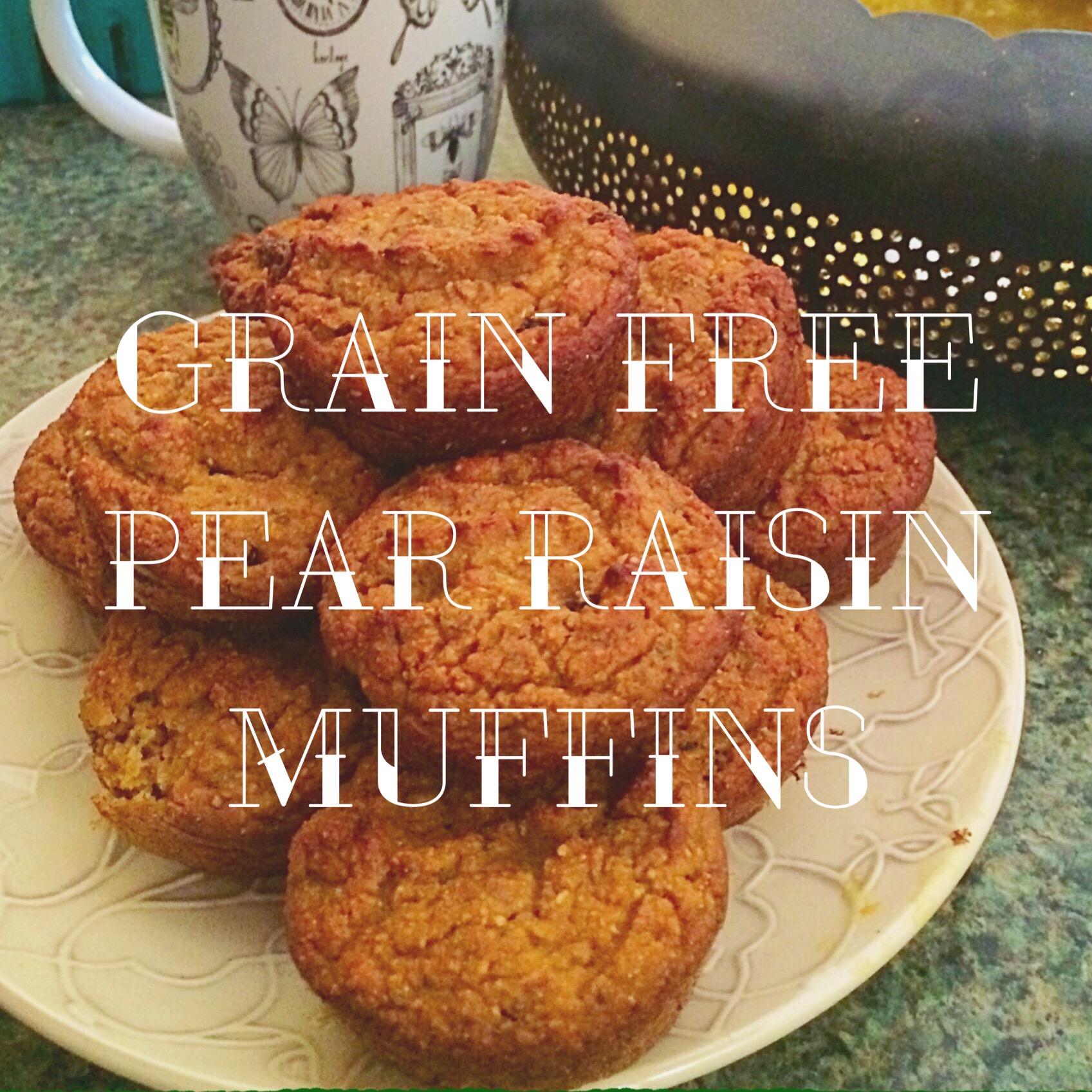 grain free pear raisin muffins vegan