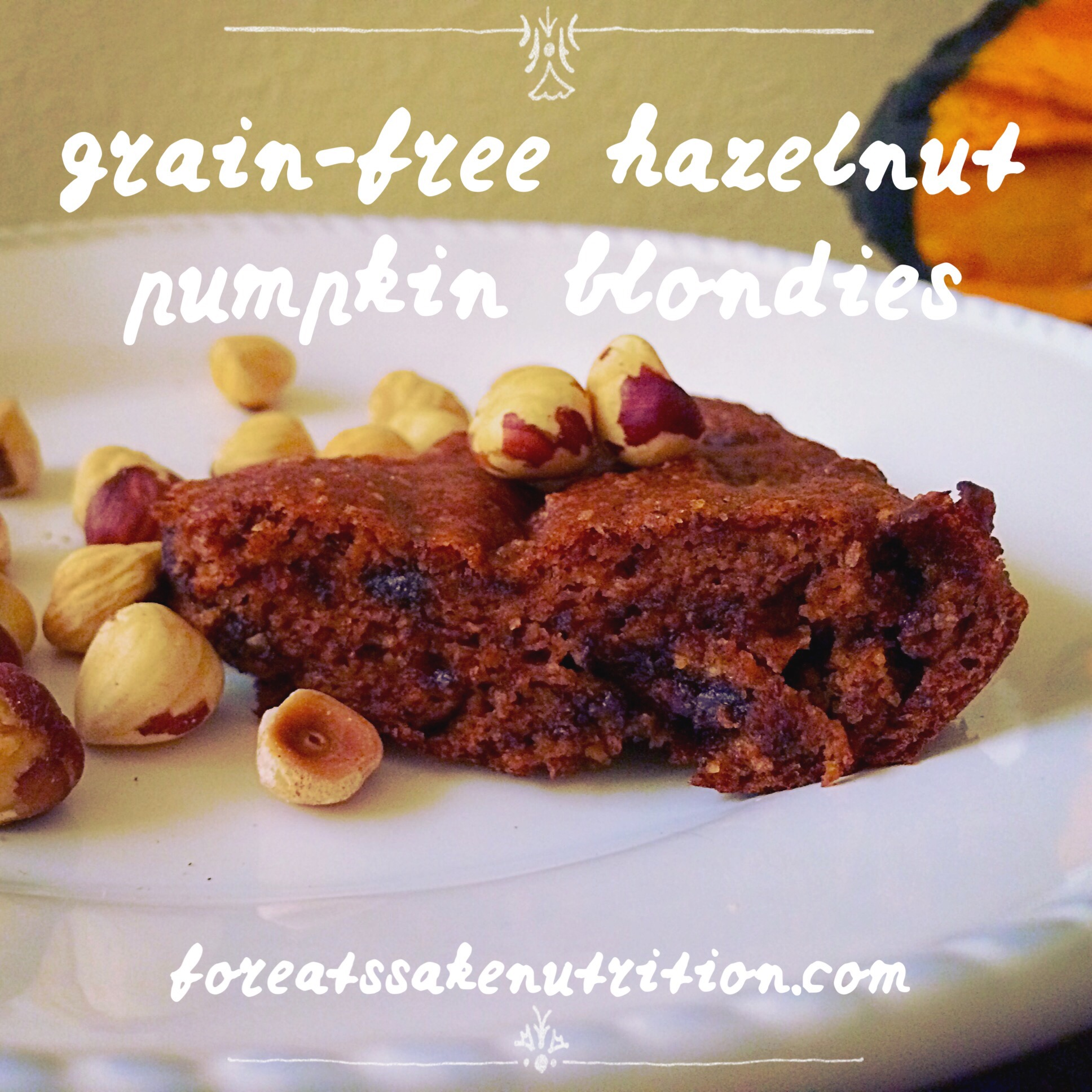 grain free hazelnut pumpkin blondies
