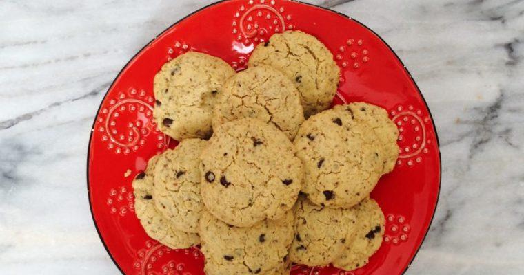 Sugar Free Vegan Chocolate Chip Cookies (gluten free, nut free)