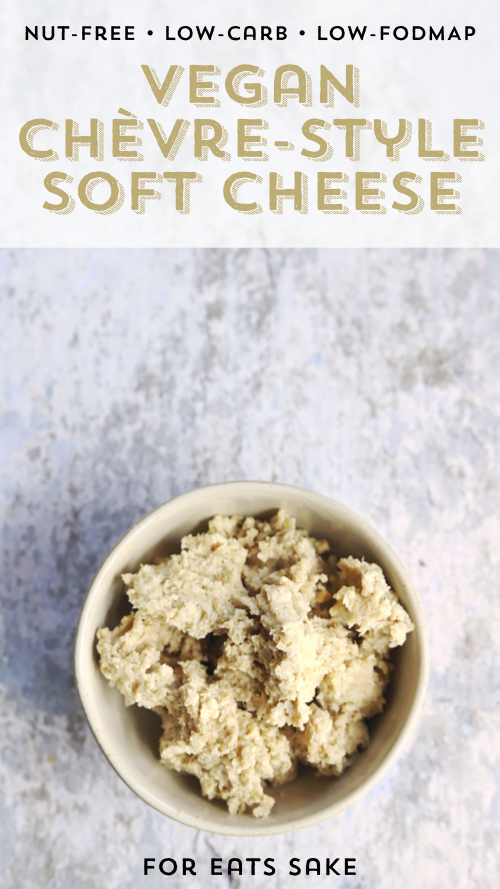a bowl of soft, chevre-style vegan cheese