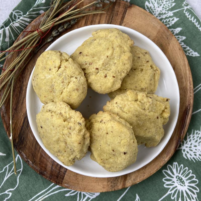 a plate of gluten-free vegan lemon lavender cookies