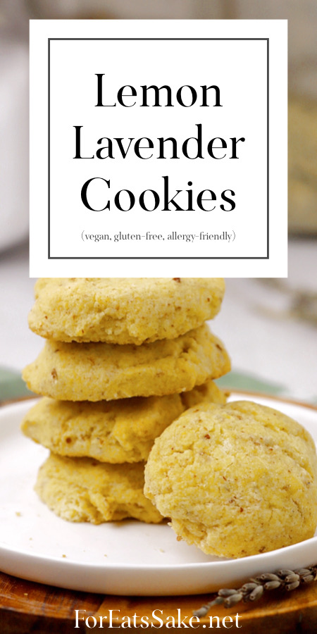 a plate of gluten-free vegan lemon lavender cookies with the title info